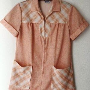 Vintage 70's peach zip up polyester top plaid L